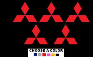 "Mitsubishi Emblem Logo Decal Sticker RED 5X 1"" Decal Stickers"