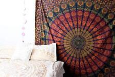 Pfau Mandala Indisch Überwurf Tagesdecke Wandbehang Yoga Deko Tuch 210 X 230cm