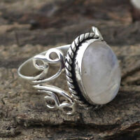Women Rainbow Moonstone Ring Oval 925 Silver Natural Gemstone Jewelry 1pc