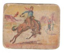 1937 Gum Inc Wild West trading card #7 Bronco Busting grades Poor