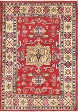 3x5 RED Geometric Super Kazak Area Rug Hand-Knotted Oriental Wool Kitchen Carpet