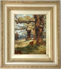 Cadzow Forest Scotland Antique Oil Painting by James Faed (Scottish, 1857–1920)