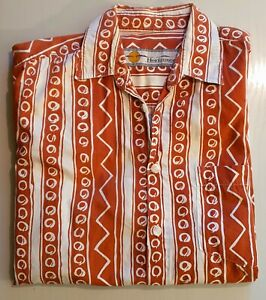 Hawaii Hemd Vintage Surfer Oldschool Shirt 90s surf Gr. L weiß/braun Aloha !!