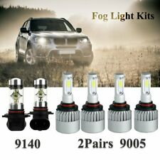 Combo 9005 HB3 LED Headlight Hi/Low Beam Bulbs H10 Foglight Kit 6000K White 6pcs