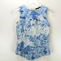 Tibi Womens Sleeveless Peplum Top Size 0 Blue Floral Print