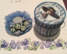 Blue Ruffled Silk Ribbon & Roses Ladies Hat Box Victorian Dollhouse Miniature