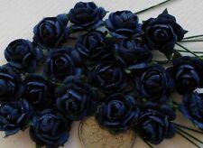 100 Cute Handmade Mulberry Paper Roses - 10MM - Deep Navy Blue Rose Topper!