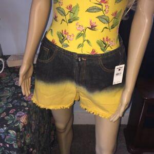 FUBU - SHORTS - Yellow and Black Denim Zip - Women Size 9/10 1990's Vintage NOS