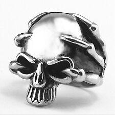 Anillo Cráneo Biker Tallas para Hombres de acero inoxidable banda X garra detalle ocultas UK #6