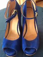 MOLLINI BRAND SUEDE WEDGES, BLUE, SIZE 40 (APPROX. SIZE 9)