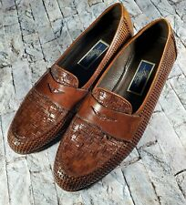 Cole Haan Bragano Brown Woven Weaved Leather Slip-On Italian Penny Loafers 11 B