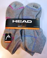 6 PAIRS HEAD SOCKS WOMENS GIRLS MULTICOLOR SWIFT DRY NO SHOW CUSHION 9-11 H151