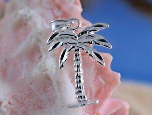 REAL STERLING SILVER DIAMOND CUT PALM TREE PENDANT