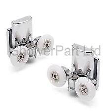2 x TWIN inferiore ZINCO LEGA DOCCIA PORTA RULLI / corridori / ruote 25mm WHEEL L067
