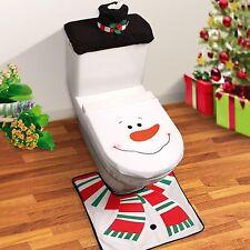 Muñeco de nieve cubierta de asiento de Inodoro Conjunto De Alfombra Cuarto de Baño Decoración De Navidad De Navidad Diversión Novedad