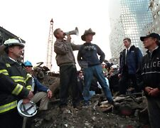 GEORGE W. BUSH STANDS UPON DEBRIS AT WORLD TRADE CENTER - 8X10 PHOTO (AA-175)