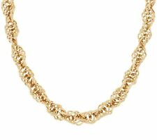 "18"" Interlocking  Twisted Singapore Chain Necklace Real 14K Yellow Gold QVC"