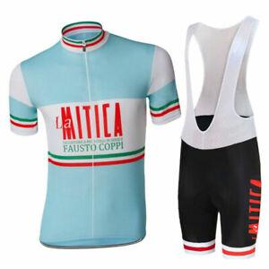Retro Cycling Jersey Suit La Mitica Fausto Coppi Gel Bib Pants Racing Short Kits
