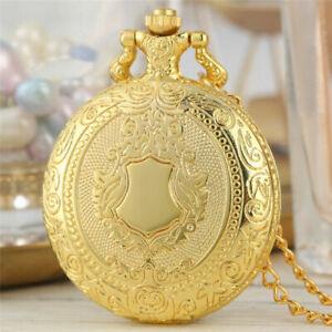 Vintage Silver Golden Round Case Men Women Quartz Pocket Watch Necklace Pendant