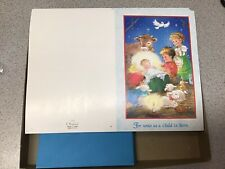 25 Christmas Cards Envelopes Olympicard Child Nativity Unto Is A Child Is Born