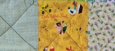 VINTAGE HAND MADE COTTON FLANNEL BABY QUILT LITTLE GOLDEN BOOKS FABRIC