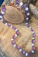 Classy Vintage Pearl Purple Lilac Crystal Beaded Necklace Necklace 925 Sterling