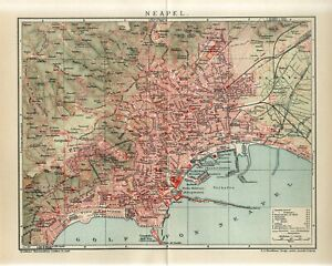 1911 ITALY NAPLES NAPOLI CITY PLAN Antique Map dated