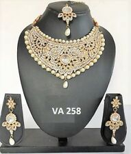 Indian Fashion Jewelry Bollywood Bridal Pearl Kundan CZ Necklace Earrings Sets