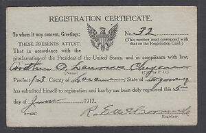 US 1917 Draft Registration Certificate of Arthur O. Lawrence of Cheyenne Wyoming