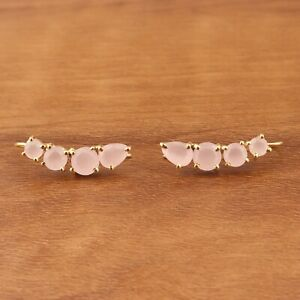 Prong Setting Pink Chalcedony Yellow Gold Plated Drop Dangle Charm Earring Pairs
