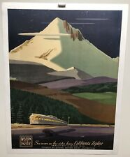 Rare Original vintage travel poster Western Pacific Railroad California Zephyr