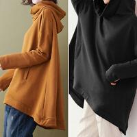 Mode Femme Sweat-shirts Haut Décontracté lâche Manche Longhue Col Haut Plus