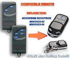 Novoferm novotron MNHS 433-02, MNHS 433-04 compatible remplacement télécommande