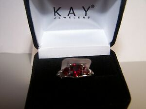 NEW KAY JEWELERS RUBY SAPPHIRE TRIPLE HEARTS W/ACCENT STERLING SILVER RING SZ 7