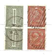 1863   ITALIA  Regno - coppia cifra Cent. 1 + coppia cifra Cent.2