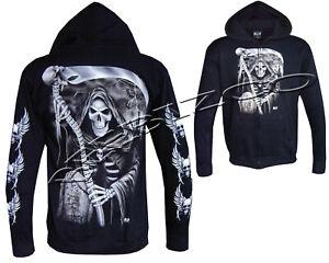 The Grim Reaper Glow In The Dark Skull Axe  Zip Zipped Hoodie Hoody Jacket M-3XL