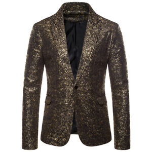 Mens Formal Glitter Outwear Party Business Blazer Suit Stage Button Coat Jacket