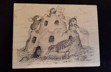 House Mouse SAND CASTLE FRIENDS Stampa Rosa Rubber Stamp BEACH Bird Seashells