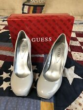 Guess Heels Size 9.5M Silver Gray Platform Round Toe Platform Pumps Shoes Womens