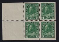 Canada Sc #107b (1922) 2c yellow-green Admiral BOOKLET PANE Mint VF NH