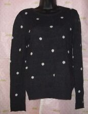 $67 H&M XS DOT SWEATER BLOUSE CHARCOAL GRAY RIB KNIT WOOL BLEND TOP NEW CLEANED