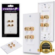 Fosmon Coupler Gold Plated Copper Banana Binding Post Wall Plate for 2 Speaker