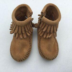 Minnetonka Leather Double Fringe Brown Infant Moccasins Baby Size-4