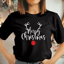 Reindeer Merry Christmas T-shirt Xmas Gift Costume Outfit Eco Cute T Shirts 5064