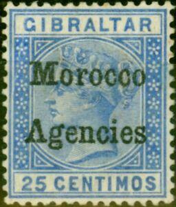 Morocco Agencies 1898 25c Ultramarine SG4a Inverted V for A Good Mtd Mint