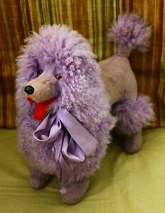 "Vintage or Antique Staffed  plush Toy Poodle Dog 14"""