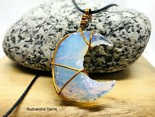 OPAL STONE OPALITE MOON SHAPE COPPER WIRE PENDANT POWERFUL ENERGY RARE NECKLACE