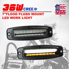 2x 7inch 36W LED Work Light Bar Flush Mount Flood Driving Lamp Turn Signal
