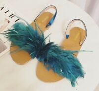Feather Slingback Flat Black Blue White Sandals Shoes