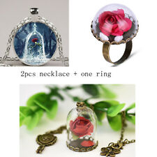 US SHIP!  Movie Beauty and the Beast Rose Vial Flower Glass Necklack + Ring Set